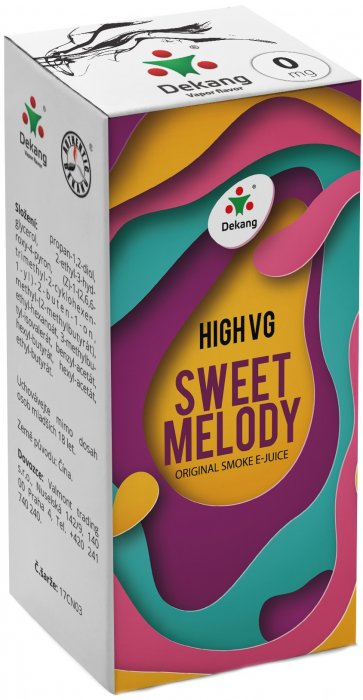 Dekang High VG Sweet Melody 10ml - 0mg (Broskev s citrónem)